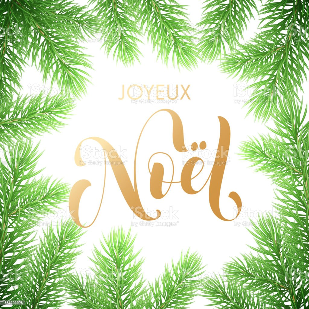 Joyeux Noel French Merry Christmas Golden Hand Drawn Quote ...
