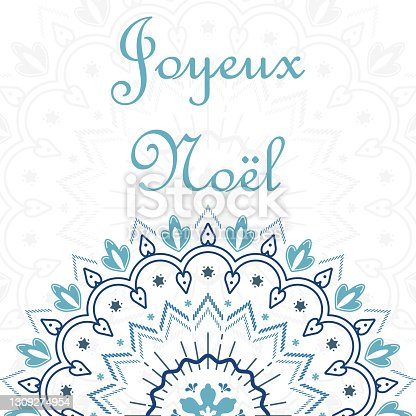 istock Joyeux Noel. Merry Christmas card template with greetings in french 1309274954