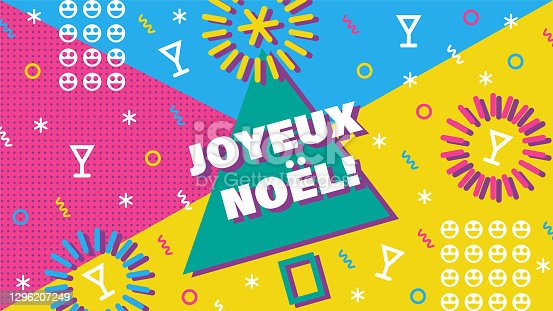 istock Joyeux Noel. Merry Christmas card with greetings in french. 1296207249
