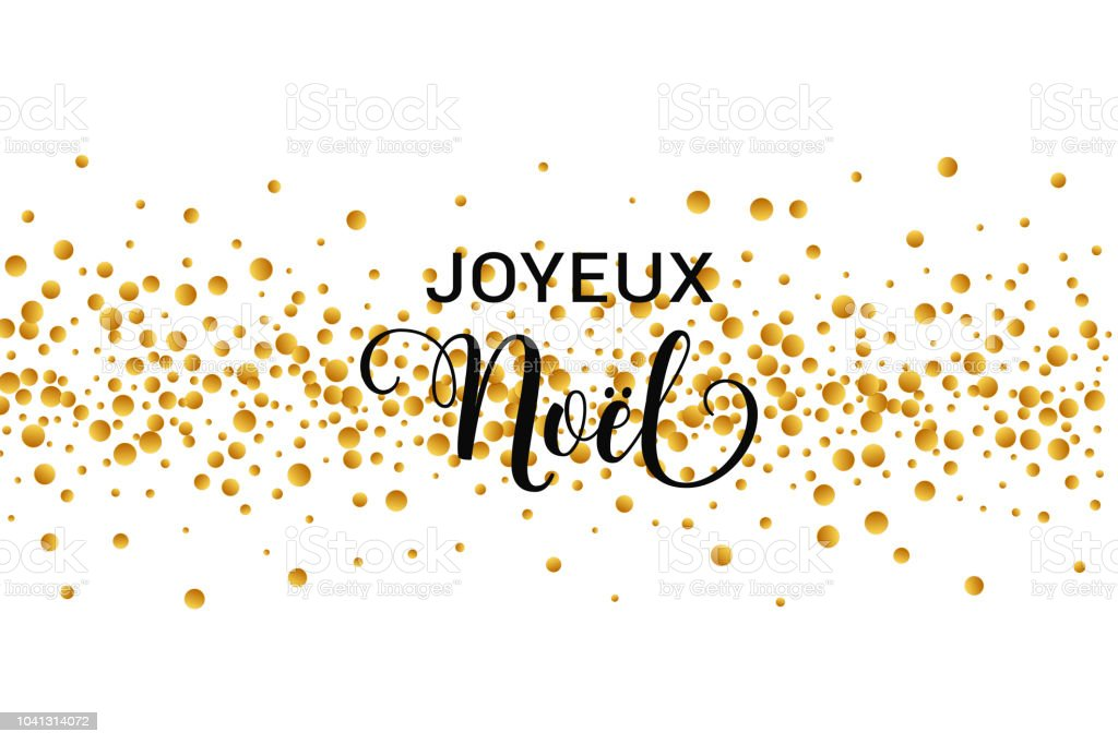joyeux noel merry christmas french text christmas vector card with golden round confetti on white - Merry Christmas French