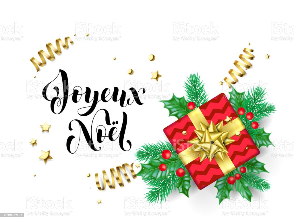 joyeux noel merry christmas french trendy quote calligraphy on white premium background for winter holiday design