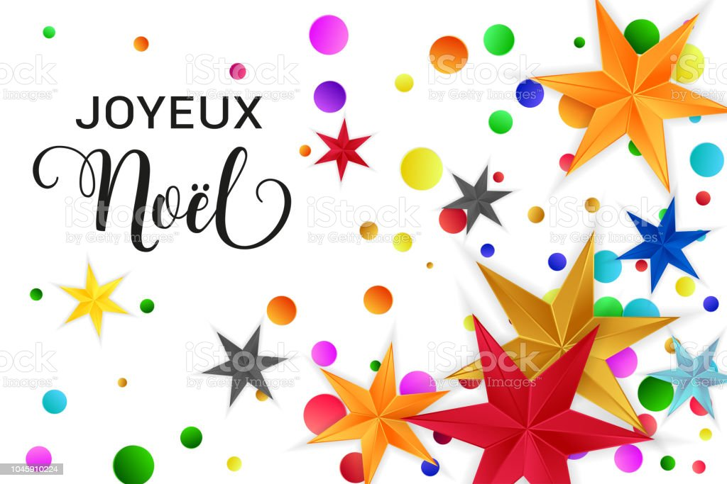 joyeux noel merry christmas french typography christmas vector card with bright colorful stars and round - Merry Christmas French