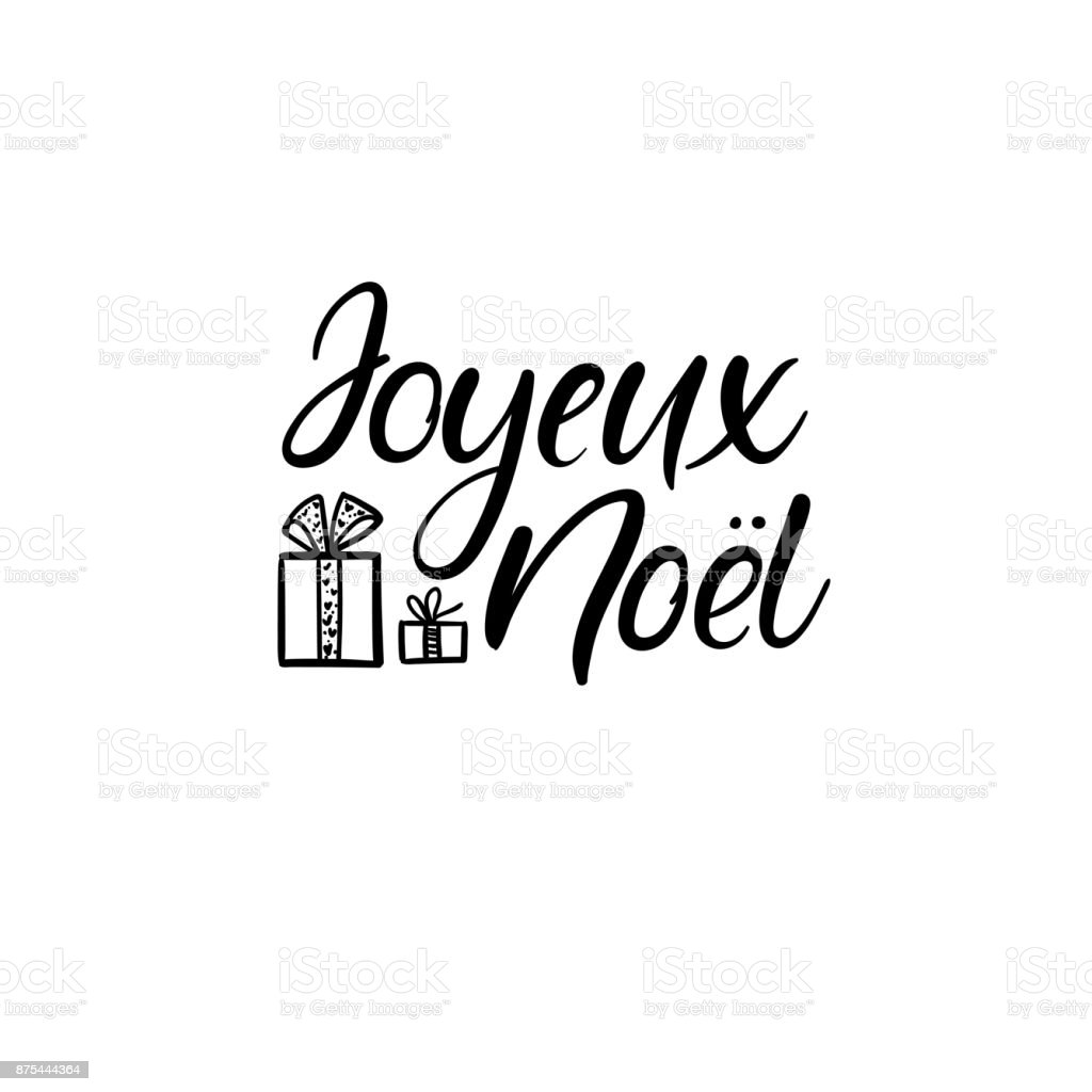 joyeux noel merry christmas in french hand lettering. Black Bedroom Furniture Sets. Home Design Ideas