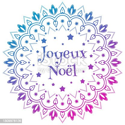 istock Joyeux Noel. Merry Christmas mandala template with greetings in french 1309978126