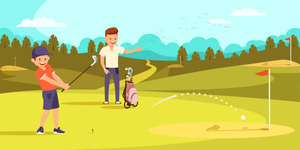 joyful boy is hitting ball with golf clubs, aiming at hole. - old man showing thumbs up background stock illustrations