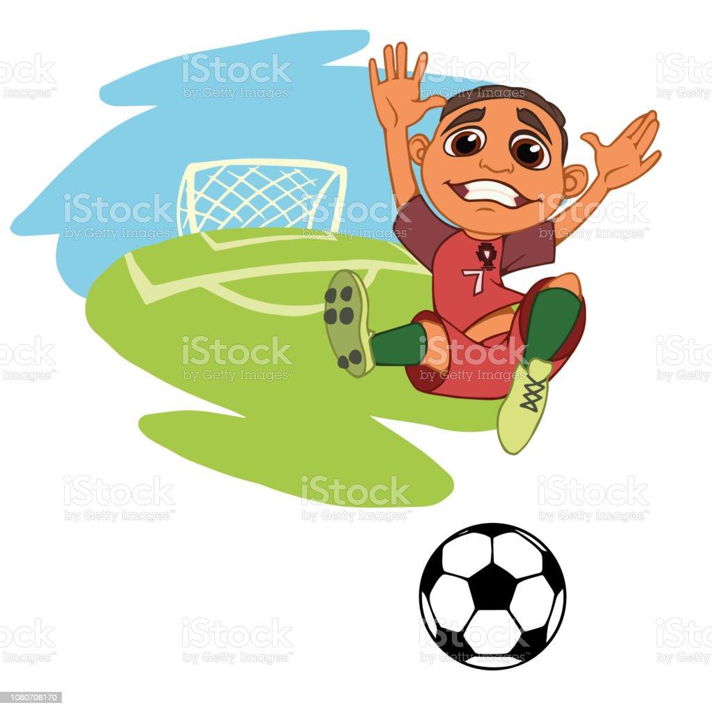 Frohlichen Jungen Fussball Spielen Stock Vektor Art Und Mehr