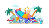 Joyful businessman lies on beach with laptop. team robots manage business processes. Smart orders payment delivery goods. metaphor AI in business concept work automation marketing. Vector illustration