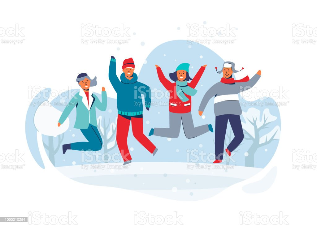 5d8e6b8bc9 People in Warm Clothes on Happy Winter Vacation. Man and Woman Having Fun  Outdoors. Vector illustration - Illustration .