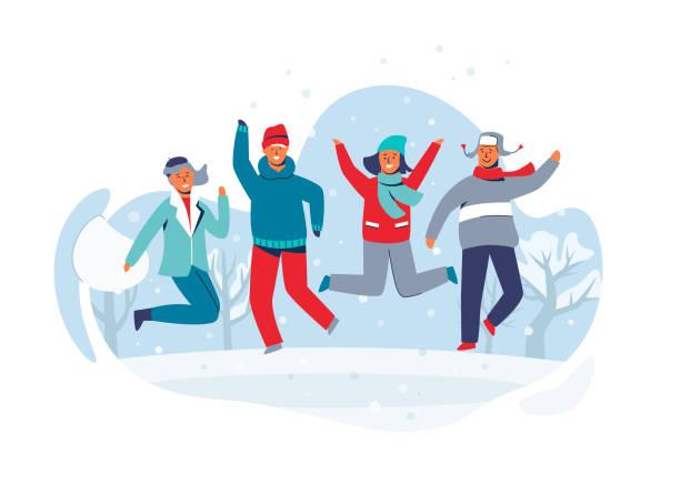fröhliche figuren freunde springen im schnee. menschen in warme kleidung auf glücklich winterurlaub. mann und frau, die spaß im freien. vektor-illustration - familienurlaub stock-grafiken, -clipart, -cartoons und -symbole