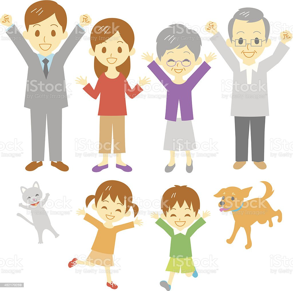 joyful family royalty-free joyful family stock vector art & more images of 70-79 years