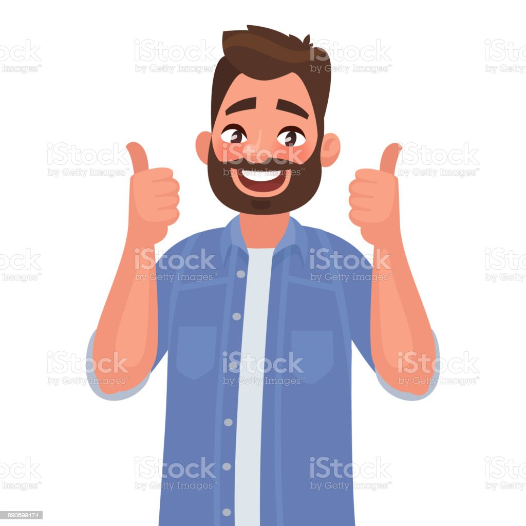 Joyful man shows gesture ñool. I like. Vector illustration vector art illustration