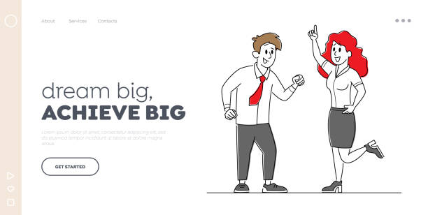 Joyful Managers Colleagues Celebrating Success Landing Page Template. Cheerful Business People Laugh and Waving Hands Up Joyful Managers Colleagues Celebrating Success Landing Page Template. Cheerful Business People Laughing and Waving Hands Up at Office Workplace. Employee Characters Rejoice. Linear Vector Illustration human body part stock illustrations