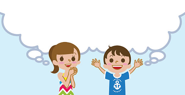 Joyful Two Kids With Empty Thought Bubble Summer Fashion Vector Art Illustration