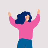 A joyful woman joins some event with her open arms. Happy female cartoon character with raised hands isolated on white background