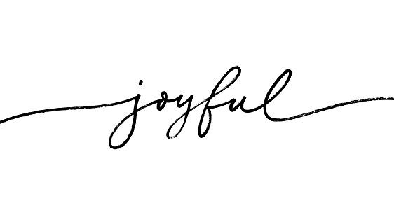 Joyful word, vector brush lettering. Hand drawn modern brush calligraphy isolated on white background.