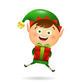 Joyful Xmas elf holding gift. Giving gifts, presents, box. Christmas concept. Realistic vector illustration can be used for topics like New Year discount, presents wrapping, sale