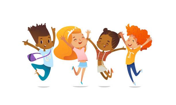 stockillustraties, clipart, cartoons en iconen met vrolijke schoolvrienden gelukkig springen met hun handen tegen paarse achtergrond. concept van ware vriendschap en vriendelijke vergadering. vectorillustratie voor website spandoek, poster, flyer, uitnodiging. - kind