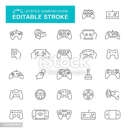 Joystick, Gamepad, Toy, Wheel, Computer, Virtual Reality, Editable Stroke Icon Set