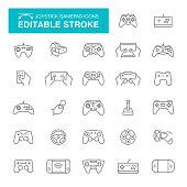 Joystick, Gamepad, Toy, Wheel, Computer, Virtual Reality, Editable Stroke Icon Set