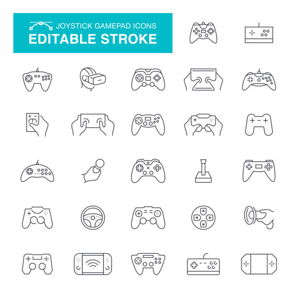 Joystick and Gamepad Editable Line Icons Joystick, Gamepad, Toy, Wheel, Computer, Virtual Reality, Editable Stroke Icon Set video game stock illustrations