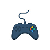 istock Joystick flat icon. Playing online. Gamepad cartoon icon. Game controller. 1208386205