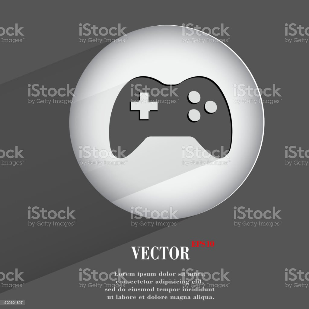 joystick. Flat modern web button with long shadow and space vector art illustration