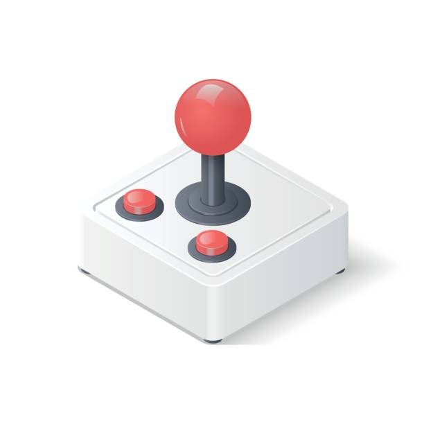 3D joystick gamepad Retro joystick gamepad isolated on white background. Video game controller symbol. Isometric vector illustration joystick stock illustrations