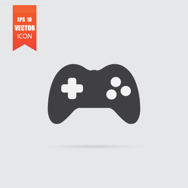 Joystick icon in flat style isolated on grey background. Joystick icon in flat style isolated on grey background. For your design, logo. Vector illustration. game controller stock illustrations