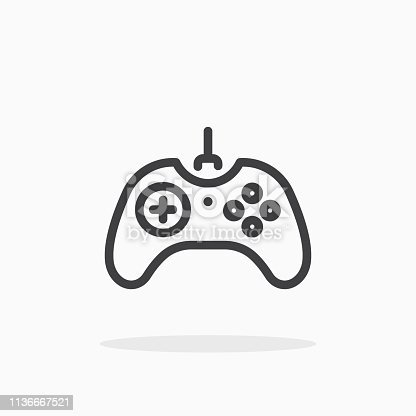 Joystick icon in line style. For your design, logo. Vector illustration. Editable Stroke.