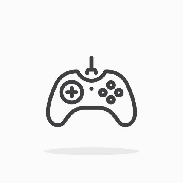 Joystick icon in line style. Joystick icon in line style. For your design, logo. Vector illustration. Editable Stroke. video game stock illustrations