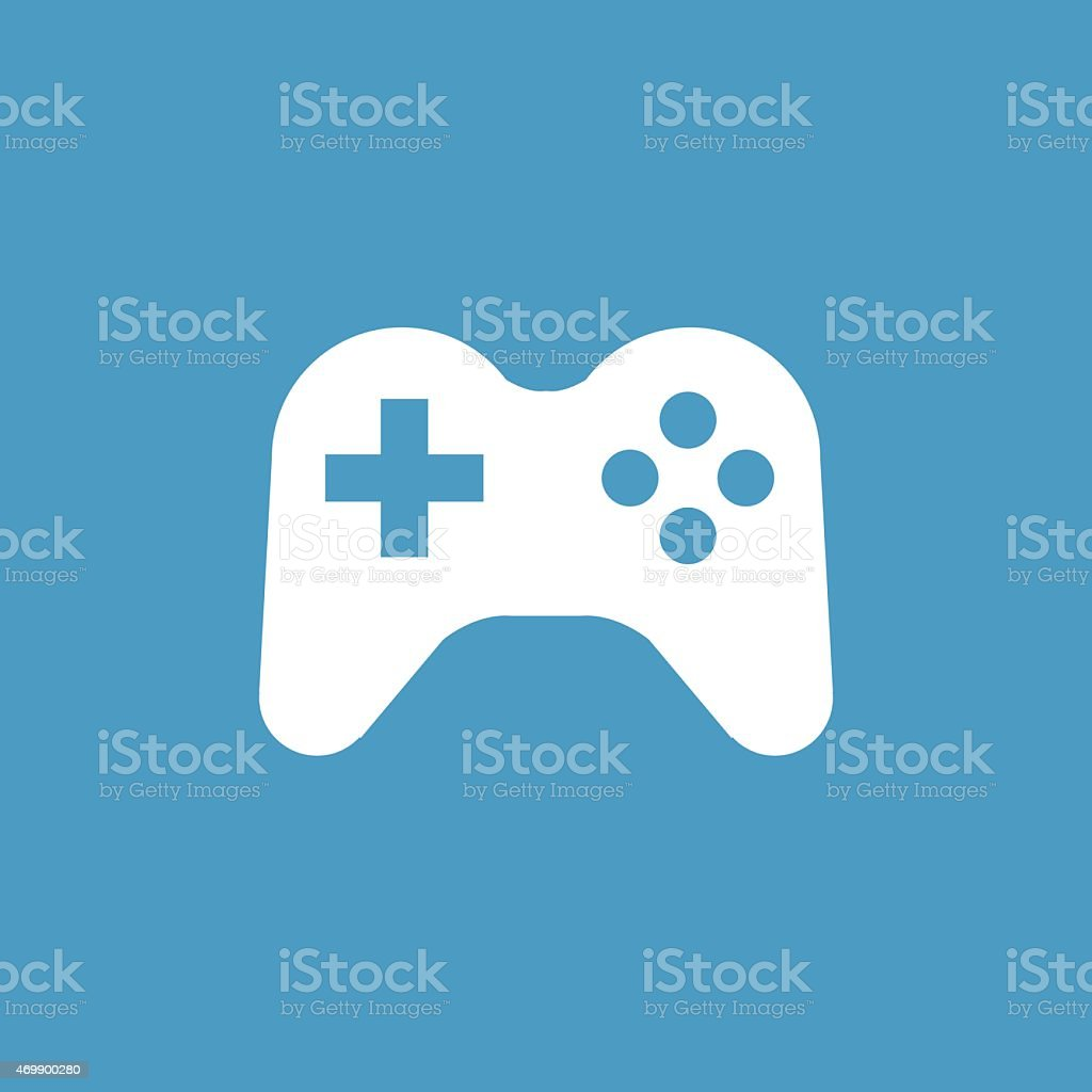joystick icon, white on the blue background vector art illustration