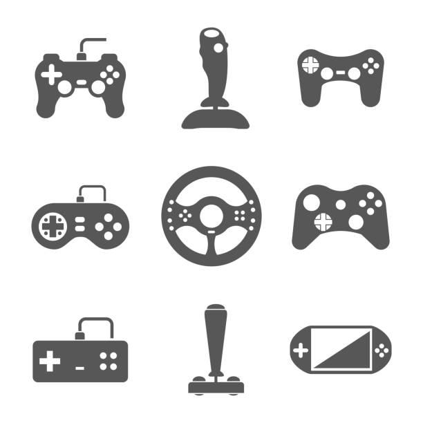 Joystick icons set Joystick icons set. Video virtual play, gaming console, vector illustration joystick stock illustrations