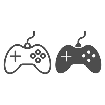 Joystick line and solid icon, electronics concept, gamepad controller sign on white background, Gaming joystick icon in outline style for mobile concept and web design. Vector graphics.