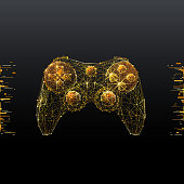 Joystick. Low poly wireframe illustration of computer games in gold style. Polygonal vector image in RGB color. Video games concept.
