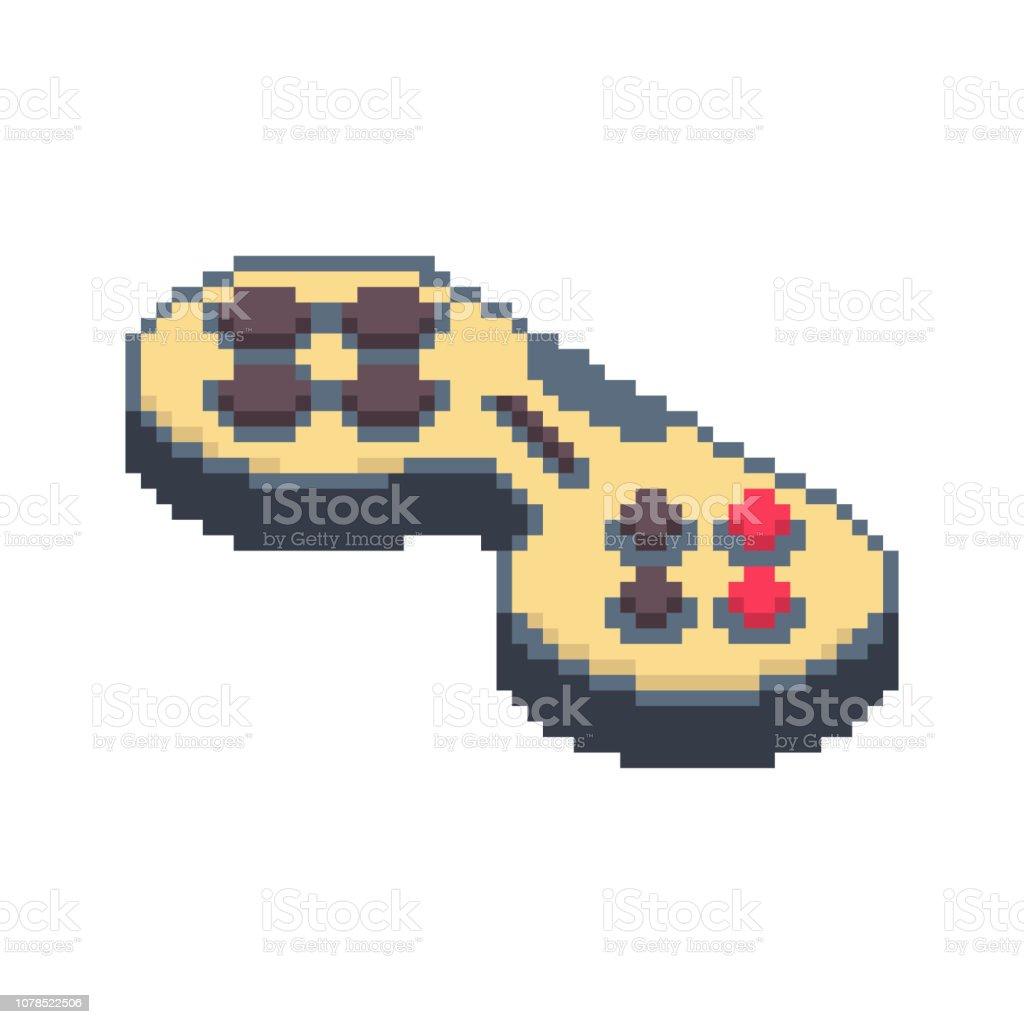 ジョイスティック ピクセル アート。ゲームパッド 8 ビット。ビデオ ゲーム古い学校コントロール レバー ベクターアートイラスト