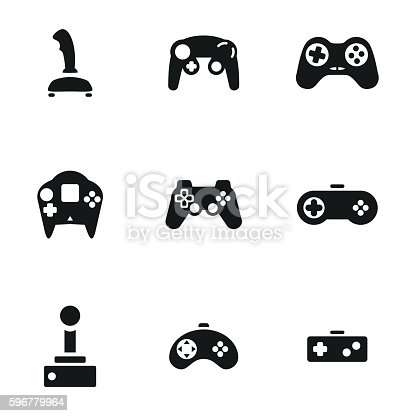 Joystick vector icons. Simple illustration set of 9 helicopter elements, editable icons, can be used in logo, UI and web design