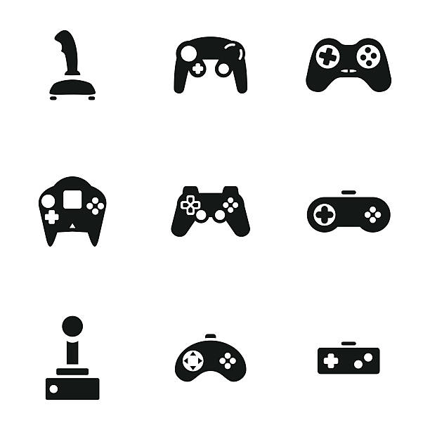 Joystick vector icons Joystick vector icons. Simple illustration set of 9 helicopter elements, editable icons, can be used in logo, UI and web design gambling stock illustrations