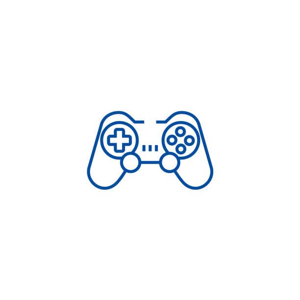 Joystick,gamepad line icon concept. Joystick,gamepad flat  vector symbol, sign, outline illustration. Joystick,gamepad line concept icon. Joystick,gamepad flat  vector website sign, outline symbol, illustration. joystick stock illustrations