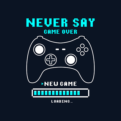 Joysticks gamepad t-shirt design with pixel text and slogan. Tee shirt typography graphics for gamers. Slogan print for video game concept. Vector