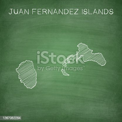 Map of Juan Fernandez Islands drawn in chalk on a green chalkboard with chalk traces. Vector Illustration (EPS10, well layered and grouped). Easy to edit, manipulate, resize or colorize.