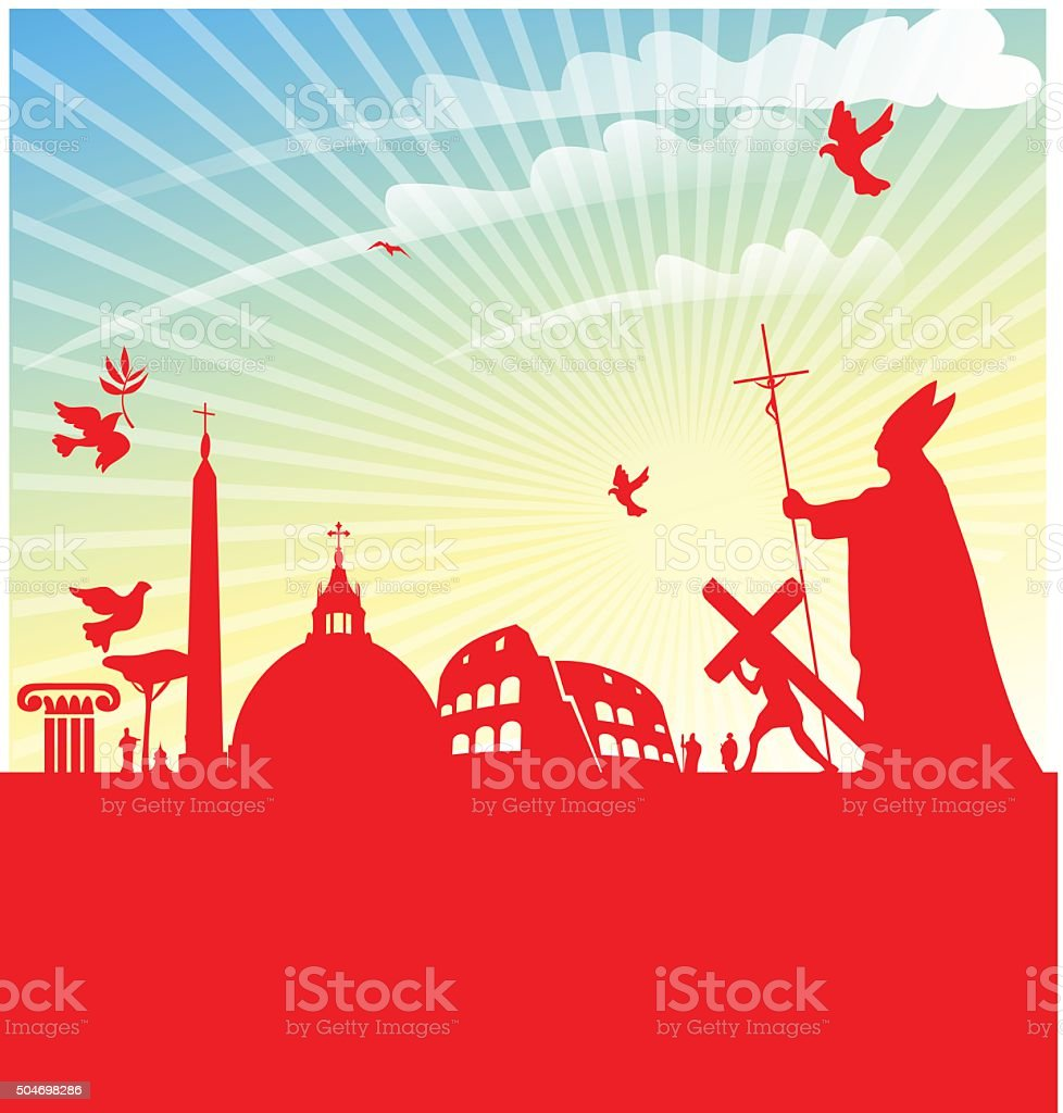 jubilee of marcy with pope on rome background vector art illustration