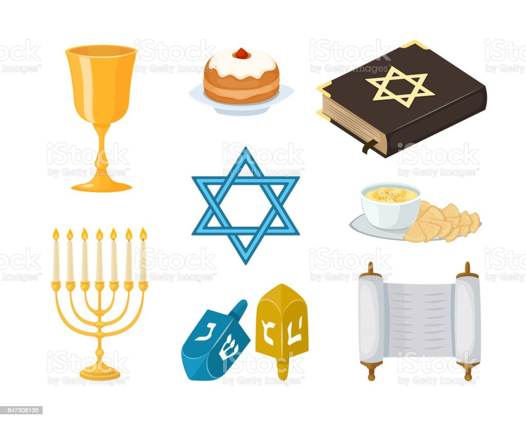 Judaism church traditional symbols icons set isolated hanukkah religious design and synagogue passover torah menorah holiday jew vector illustration vector art illustration