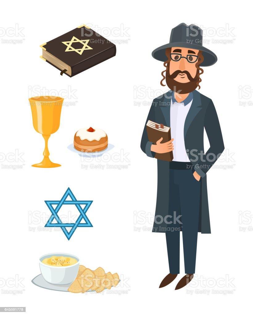 Judaism church traditional symbols isolated hanukkah religious design and synagogue passover hebrew character torah menorah holiday jew vector illustration vector art illustration