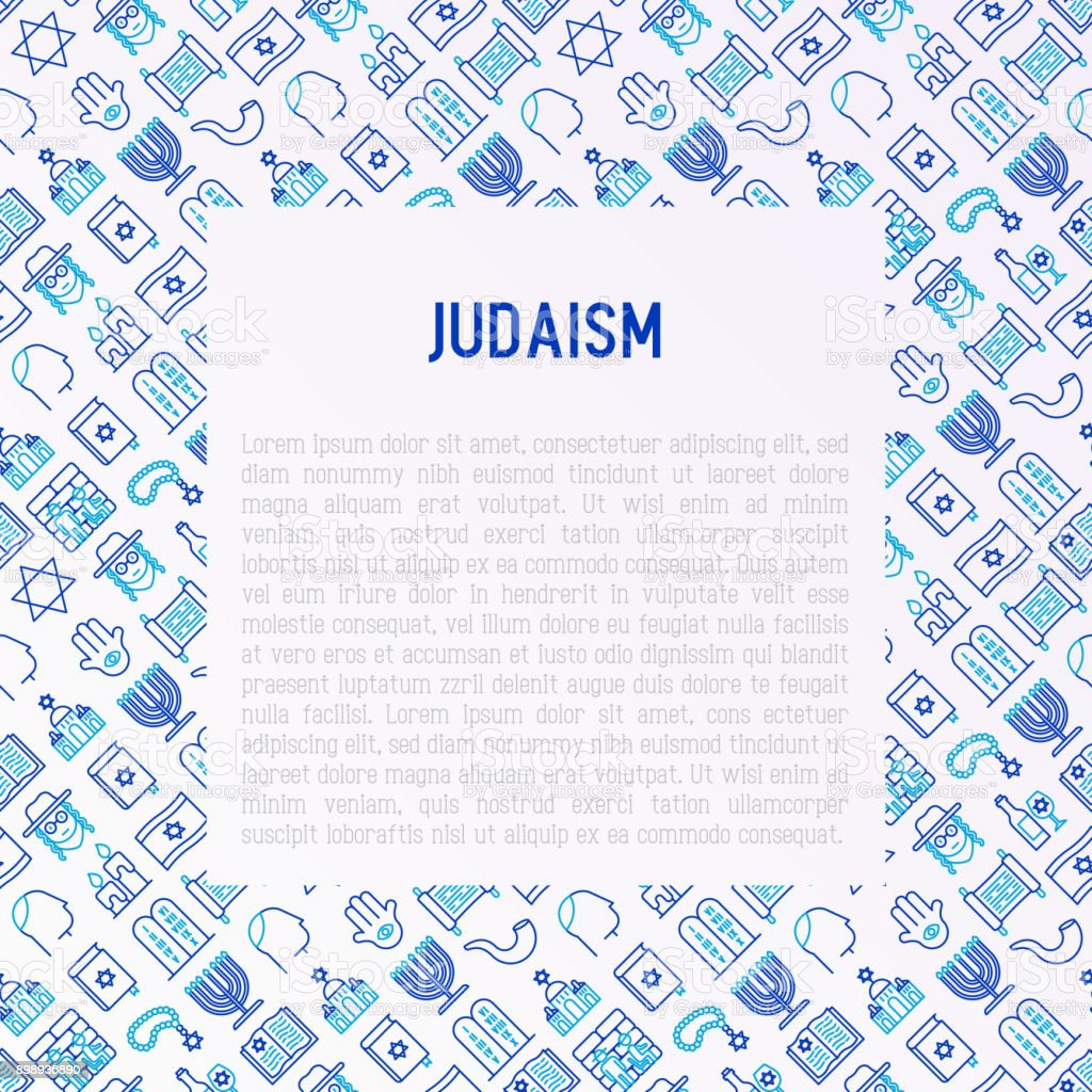 Judaism concept with thin line icons: Orthodox jew, star of David, sufganiyot, hamsa, candles, synagogue, skullcap, rosary, Western Wal, Tanakh. Modern vector illustration, template for web page. vector art illustration