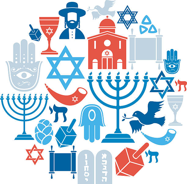 judaizm zestaw ikon - judaizm stock illustrations