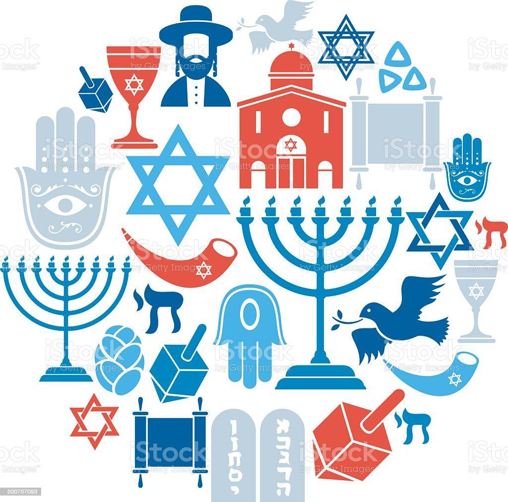 Judaïsme Icon Set - Illustration vectorielle
