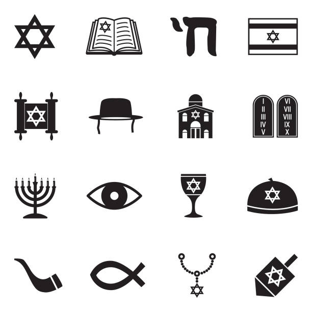 Judaism Icons. Black Flat Design. Vector Illustration. Jewish religious, Star Shape, Judaism, Synagogue, Torah. judaism stock illustrations
