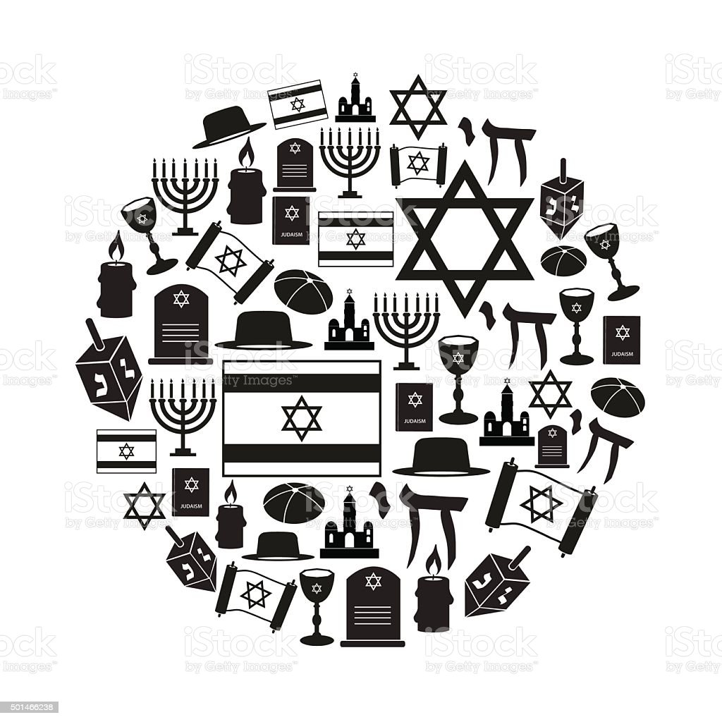 judaism religion symbols vector set of icons in circle eps10 vector art illustration