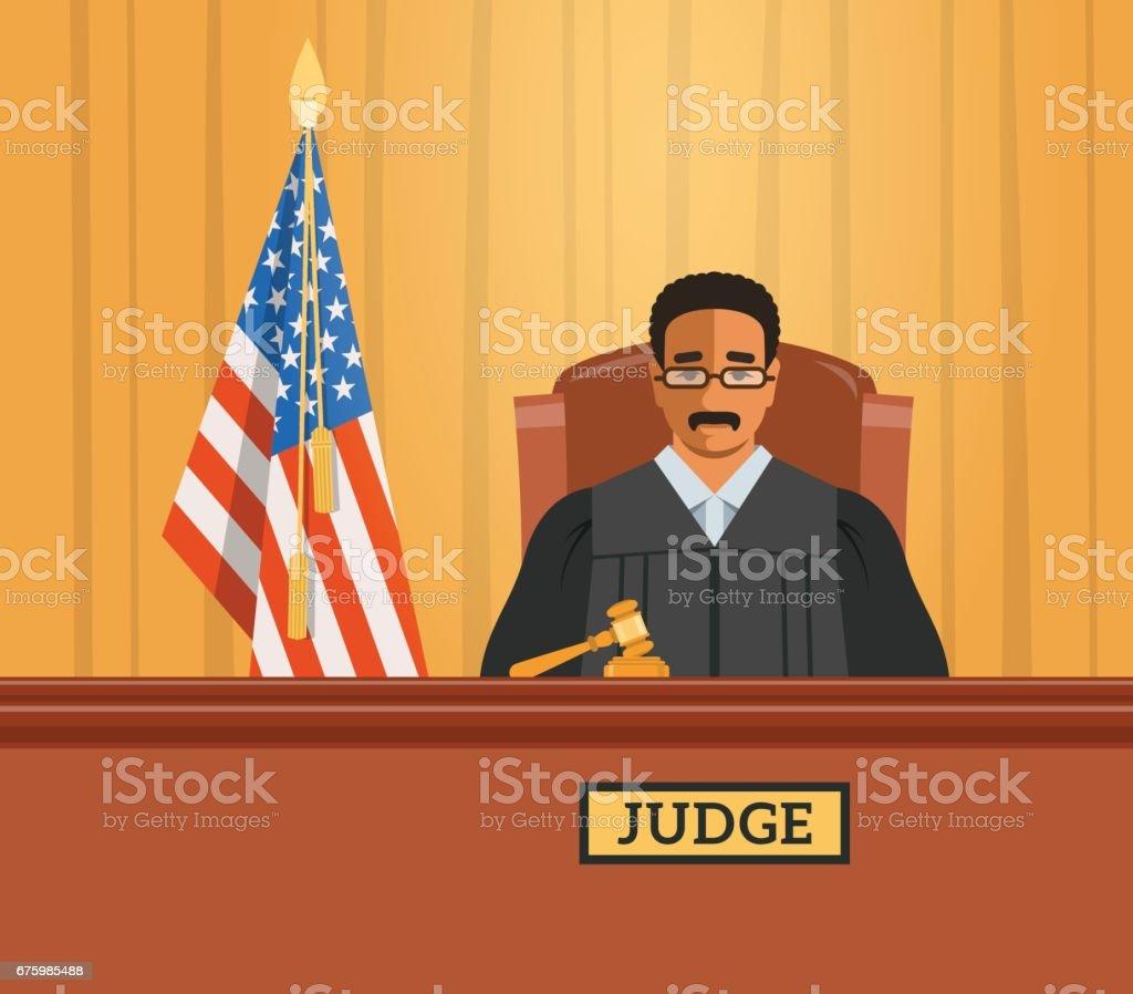 Judge black man in courtroom vector flat illustration vector art illustration