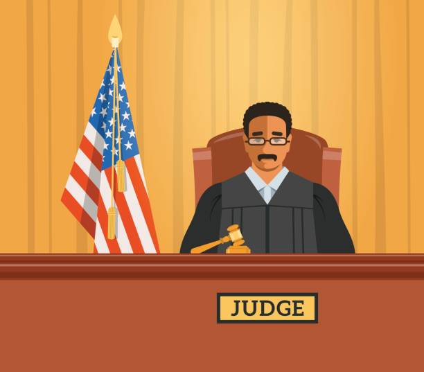 Judge black man in courtroom vector flat illustration Judge black man in courtroom at tribunal with gavel and american flag. Judicial cartoon background. Civil and criminal cases public trial. Vector flat illustration. supreme court stock illustrations